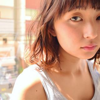 ピュア ミディアム ハイライト ガーリー ヘアスタイルや髪型の写真・画像