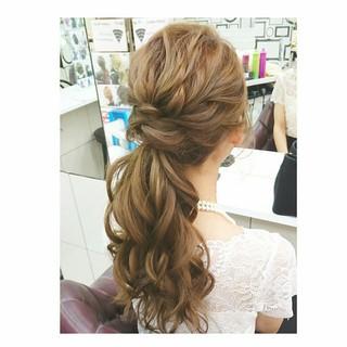 ロング ヘアアレンジ 夏 結婚式 ヘアスタイルや髪型の写真・画像