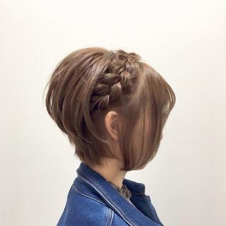 大人女子 簡単ヘアアレンジ ボブ ショート ヘアスタイルや髪型の写真・画像