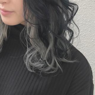 モード インナーカラー ダブルカラー ミディアム ヘアスタイルや髪型の写真・画像