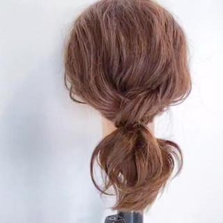 ヘアアレンジ ミディアム ナチュラル ポニーテール ヘアスタイルや髪型の写真・画像