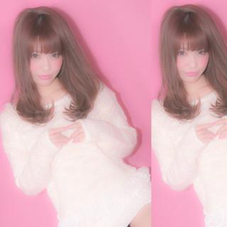 前髪あり ピンク ガーリー フリンジバング ヘアスタイルや髪型の写真・画像