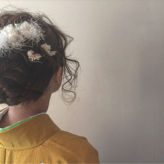ヘアアレンジ アップスタイル セミロング 成人式 ヘアスタイルや髪型の写真・画像