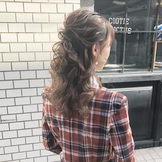 ハーフアップ ガーリー 大人かわいい デート ヘアスタイルや髪型の写真・画像