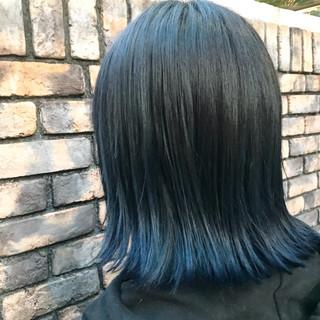 ストリート ネイビー グラデーションカラー ダブルカラー ヘアスタイルや髪型の写真・画像