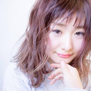 グラデーションカラー ゆるふわ ピンクアッシュ ボブ ヘアスタイルや髪型の写真・画像