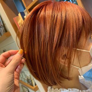 オレンジ オレンジベージュ オレンジブラウン ナチュラル ヘアスタイルや髪型の写真・画像