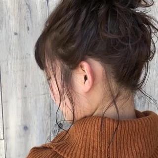 簡単ヘアアレンジ お団子 デート 編み込み ヘアスタイルや髪型の写真・画像