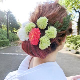 シニヨン 和装 成人式 ミディアム ヘアスタイルや髪型の写真・画像