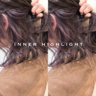 ボブ イルミナカラー ハイライト フェミニン ヘアスタイルや髪型の写真・画像