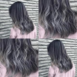 バレイヤージュ 3Dカラー ストリート ミディアム ヘアスタイルや髪型の写真・画像