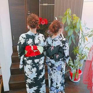 浴衣ヘア セミロング ふわふわヘアアレンジ 簡単ヘアアレンジ ヘアスタイルや髪型の写真・画像