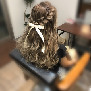ヘアアレンジ ロング ガーリー ハーフアップ ヘアスタイルや髪型の写真・画像