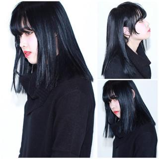 色気 ストリート ブルーブラック 黒髪 ヘアスタイルや髪型の写真・画像