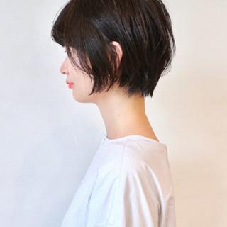 アッシュ 黒髪 ナチュラル ショート ヘアスタイルや髪型の写真・画像