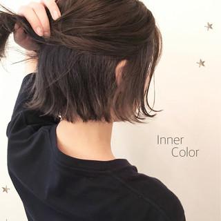 ストリート インナーカラー こなれ感 ボブ ヘアスタイルや髪型の写真・画像