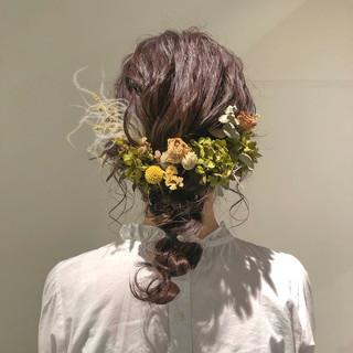 結婚式 ロング 簡単ヘアアレンジ ガーリー ヘアスタイルや髪型の写真・画像