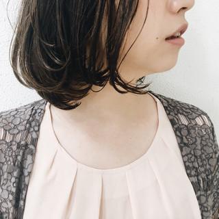 リラックス 透明感 ワンカール ボブ ヘアスタイルや髪型の写真・画像