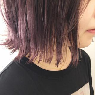 外ハネボブ ピンクパープル ボブ ラベンダーピンク ヘアスタイルや髪型の写真・画像