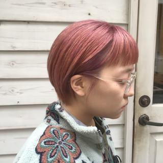 ショート ピンクベージュ ショートボブ ラベンダーピンク ヘアスタイルや髪型の写真・画像