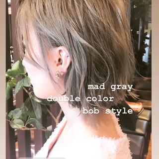 ストリート ミニボブ ホワイトカラー シルバー ヘアスタイルや髪型の写真・画像