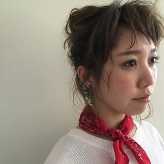 ヘアアレンジ ミディアム 夏 外国人風 ヘアスタイルや髪型の写真・画像