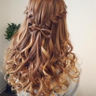 編み込み ハーフアップ ロング ヘアアレンジ ヘアスタイルや髪型の写真・画像