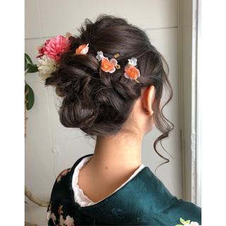 セミロング 結婚式 フェミニン ゆるふわ ヘアスタイルや髪型の写真・画像