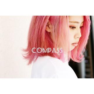 ボブ パープルアッシュ インナーカラーパープル コーラルピンク ヘアスタイルや髪型の写真・画像