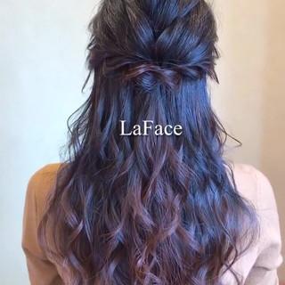 ロング ハーフアップ 結婚式 お呼ばれ ヘアスタイルや髪型の写真・画像
