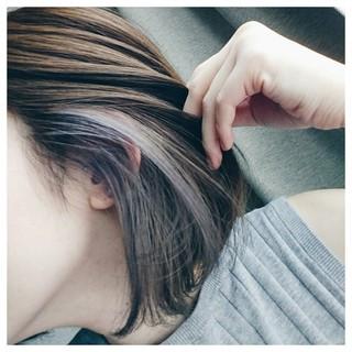 外国人風カラー アッシュ ボブ インナーカラー ヘアスタイルや髪型の写真・画像