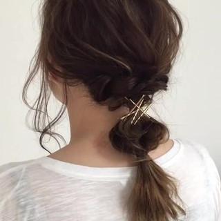 簡単ヘアアレンジ アンニュイ デート セミロング ヘアスタイルや髪型の写真・画像