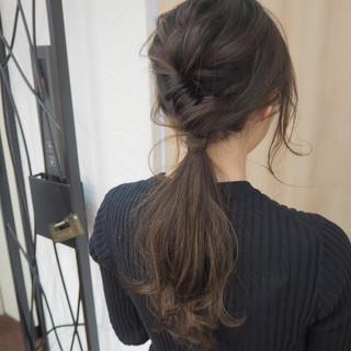 ヘアアレンジ ロング イルミナカラー 簡単ヘアアレンジ ヘアスタイルや髪型の写真・画像