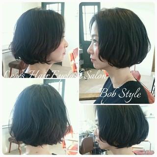 外国人風 簡単 暗髪 ボブ ヘアスタイルや髪型の写真・画像
