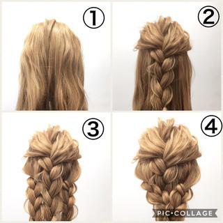 大人女子 ヘアアレンジ 三つ編み 簡単ヘアアレンジ ヘアスタイルや髪型の写真・画像