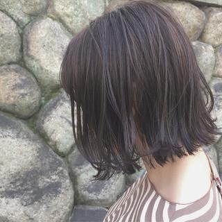 ナチュラル ボブ 黒髪 切りっぱなし ヘアスタイルや髪型の写真・画像