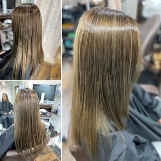 ロング 3Dハイライト ブリーチオンカラー コントラストハイライト ヘアスタイルや髪型の写真・画像