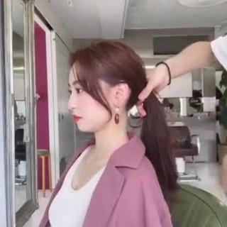 韓国風ヘアー ロング 韓国ヘア ナチュラル ヘアスタイルや髪型の写真・画像