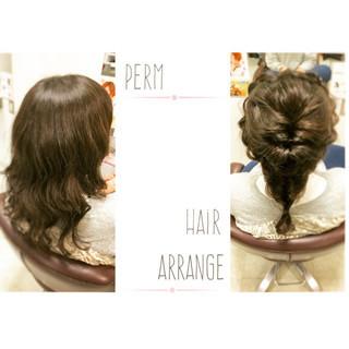 パーマ ヘアアレンジ 簡単ヘアアレンジ ゆるふわ ヘアスタイルや髪型の写真・画像