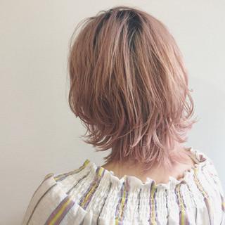 ストリート ボブ ミディアム ピンク ヘアスタイルや髪型の写真・画像