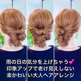 簡単ヘアアレンジ ヘアセット フェミニン アップスタイル ヘアスタイルや髪型の写真・画像