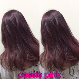 ピンクバイオレット ピンク ベリーピンク ピンクブラウン ヘアスタイルや髪型の写真・画像