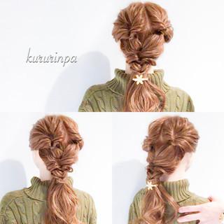 ロング デート 結婚式 簡単ヘアアレンジ ヘアスタイルや髪型の写真・画像