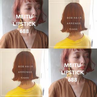 ミニボブ 切りっぱなしボブ 韓国 韓国ヘア ヘアスタイルや髪型の写真・画像