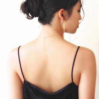 セミロング ショート 簡単ヘアアレンジ 黒髪 ヘアスタイルや髪型の写真・画像