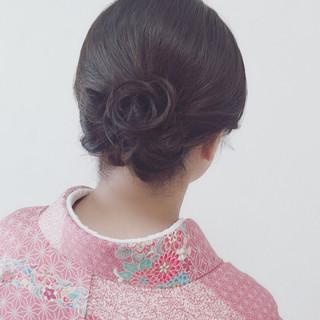 アップスタイル エレガント 着物 セミロング ヘアスタイルや髪型の写真・画像
