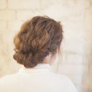 結婚式 ゆるふわ セミロング ヘアアレンジ ヘアスタイルや髪型の写真・画像