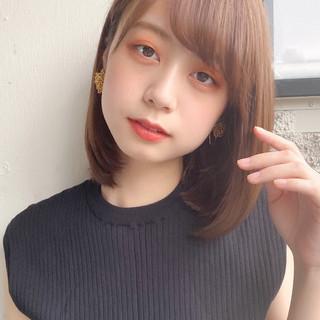 ミディアムレイヤー ロブ デジタルパーマ 縮毛矯正ストカール ヘアスタイルや髪型の写真・画像