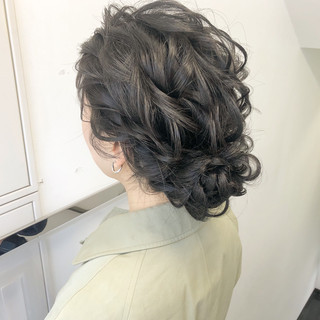 結婚式 セミロング 簡単ヘアアレンジ デート ヘアスタイルや髪型の写真・画像