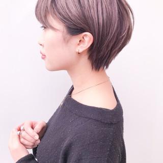 デート ショート 丸みショート 大人かわいい ヘアスタイルや髪型の写真・画像